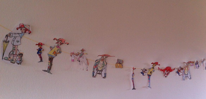 selbstgemalte und gestaltete Pippi Langstrumpf Girlande